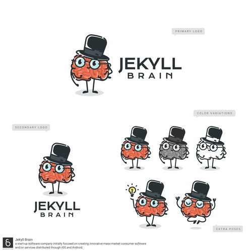 Brain Mascot logo done for a innovative consumer software startup
