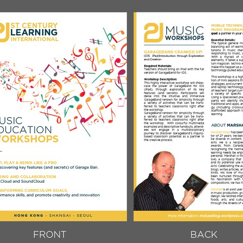 Create a reuseable flyer with a VISUAL IMPACT for an educational music workshop!