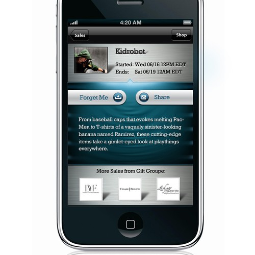 Iphone App GUI NEEDED for Mens Daily Deal App