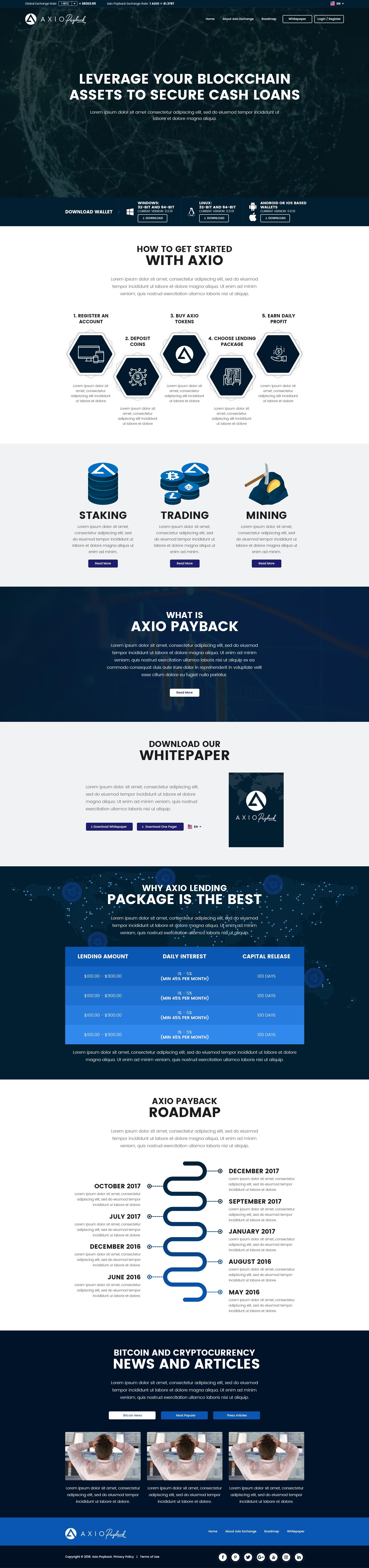 CrytoCurrency Lending Plan Website Design
