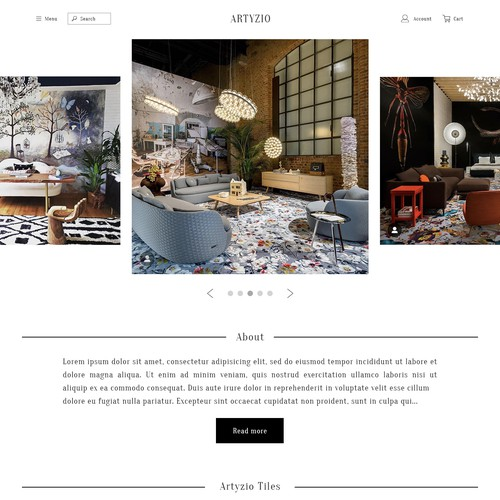 Homepage for carpet tile company