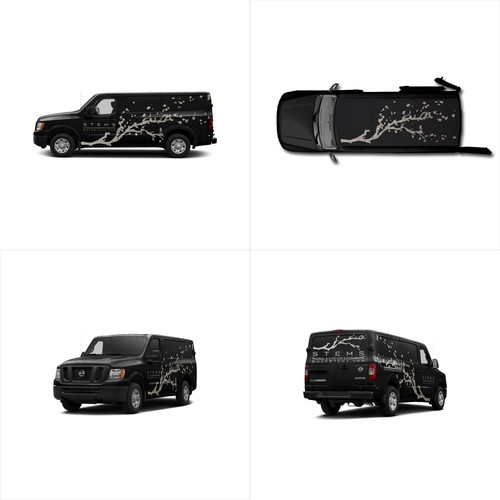 An illustrated sumi-e style van wrap design for the favorite floral, botanical and interior design shop of California.