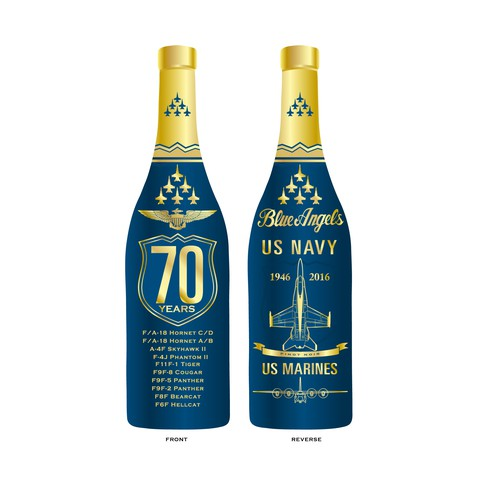 Blue Angels Anniversary Wine Bottle Label