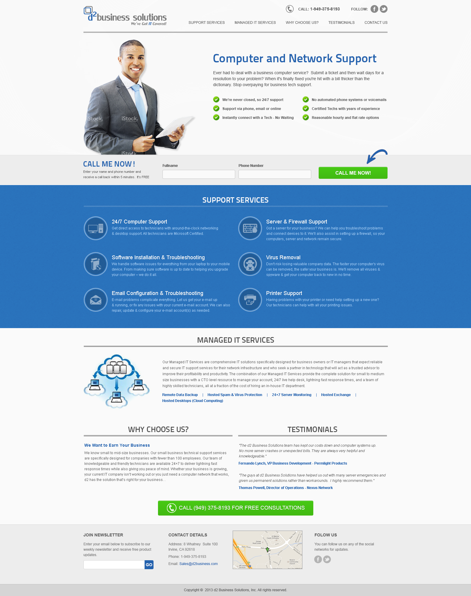 landing page for d2 Business Solutions
