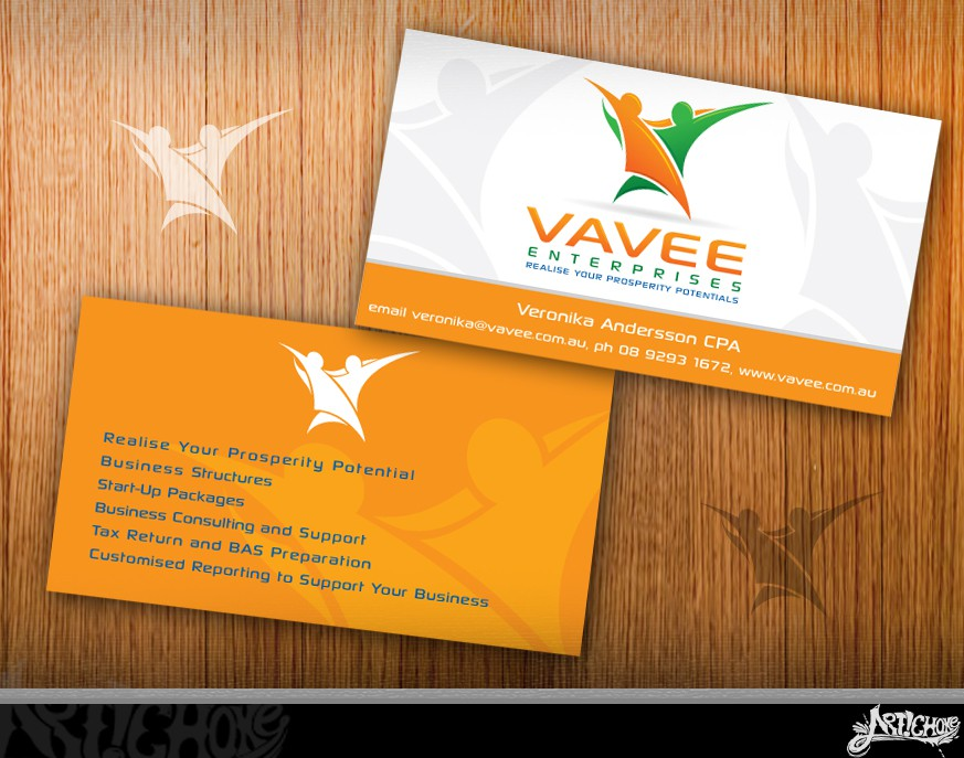Create the next logo and business card for Vavee Enterprises