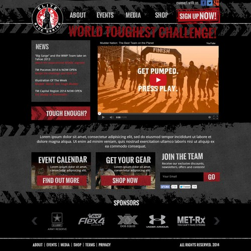Website For Elite Race Series. A mud and obstacle race