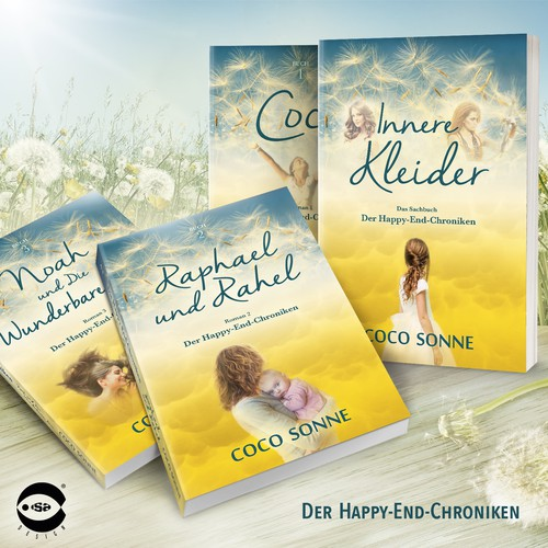 "Book covers for ""Der Happy-End-Chroniken"" series by Coco Sonne"