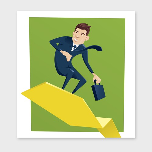 Businessman surfing on chart arrow