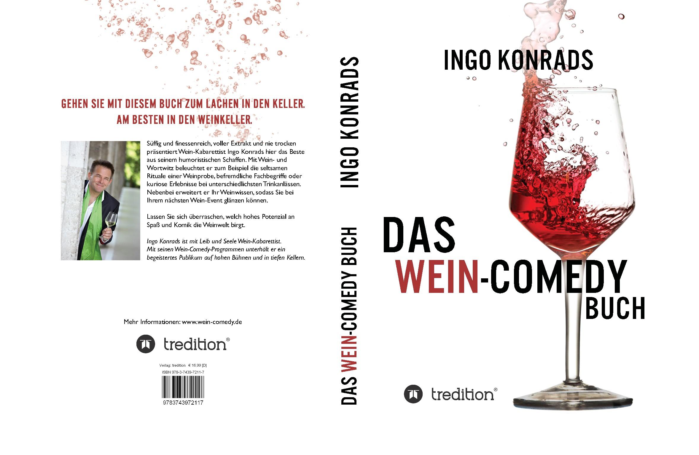 Create a book cover of a Wine-Comedy book