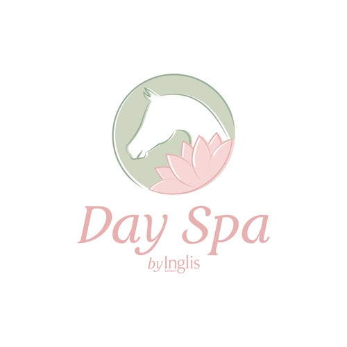Creative, distinctive Day Spa logo within boutique equine themed hotel for worldly travellers