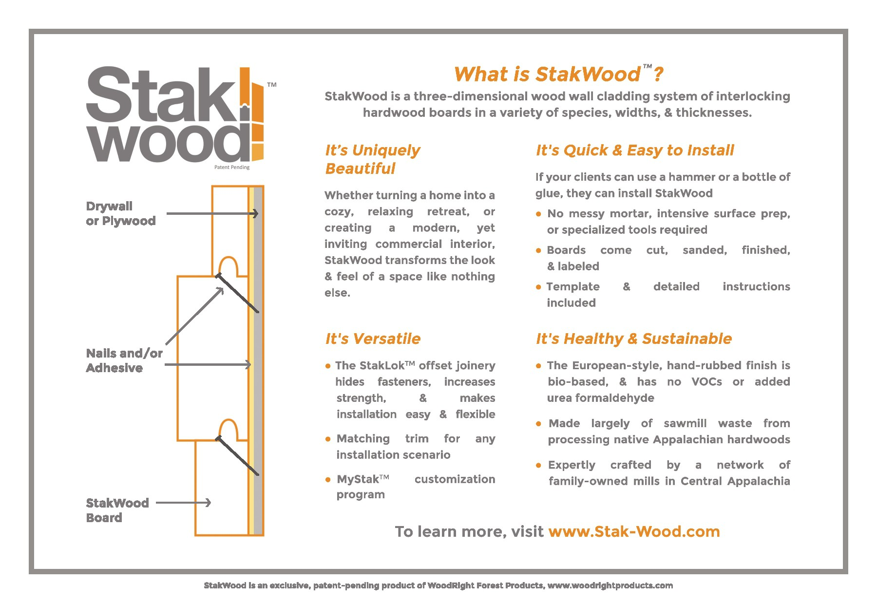 Back Side of StakWood Sample/Display Box Insert