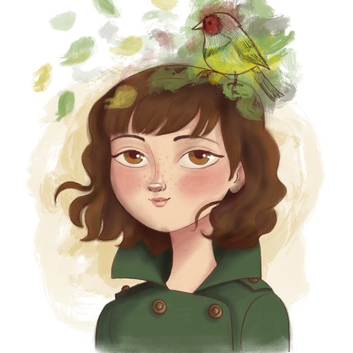 Character design - Girl and Bird