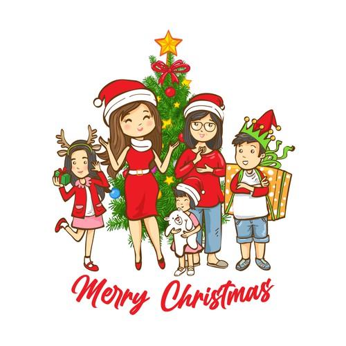 Christmas Family Cartoon