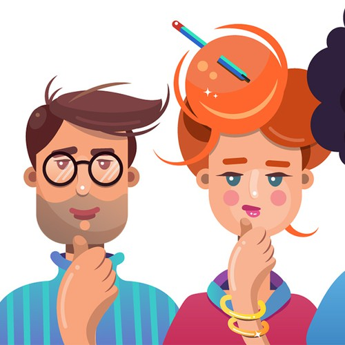 Geek flat characters illustrations