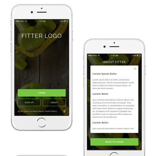 Food Fitter Mobile App UI