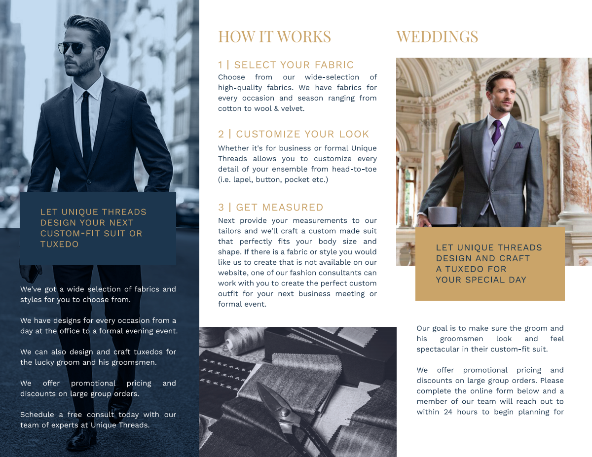 Design a pamphlet for my custom suit business