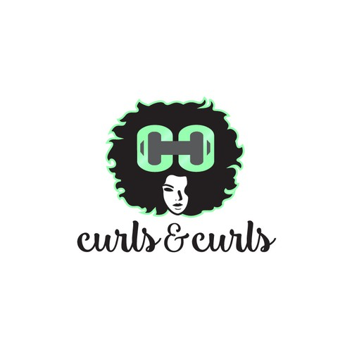 Logo concept for a curly-haired girl fitness movement