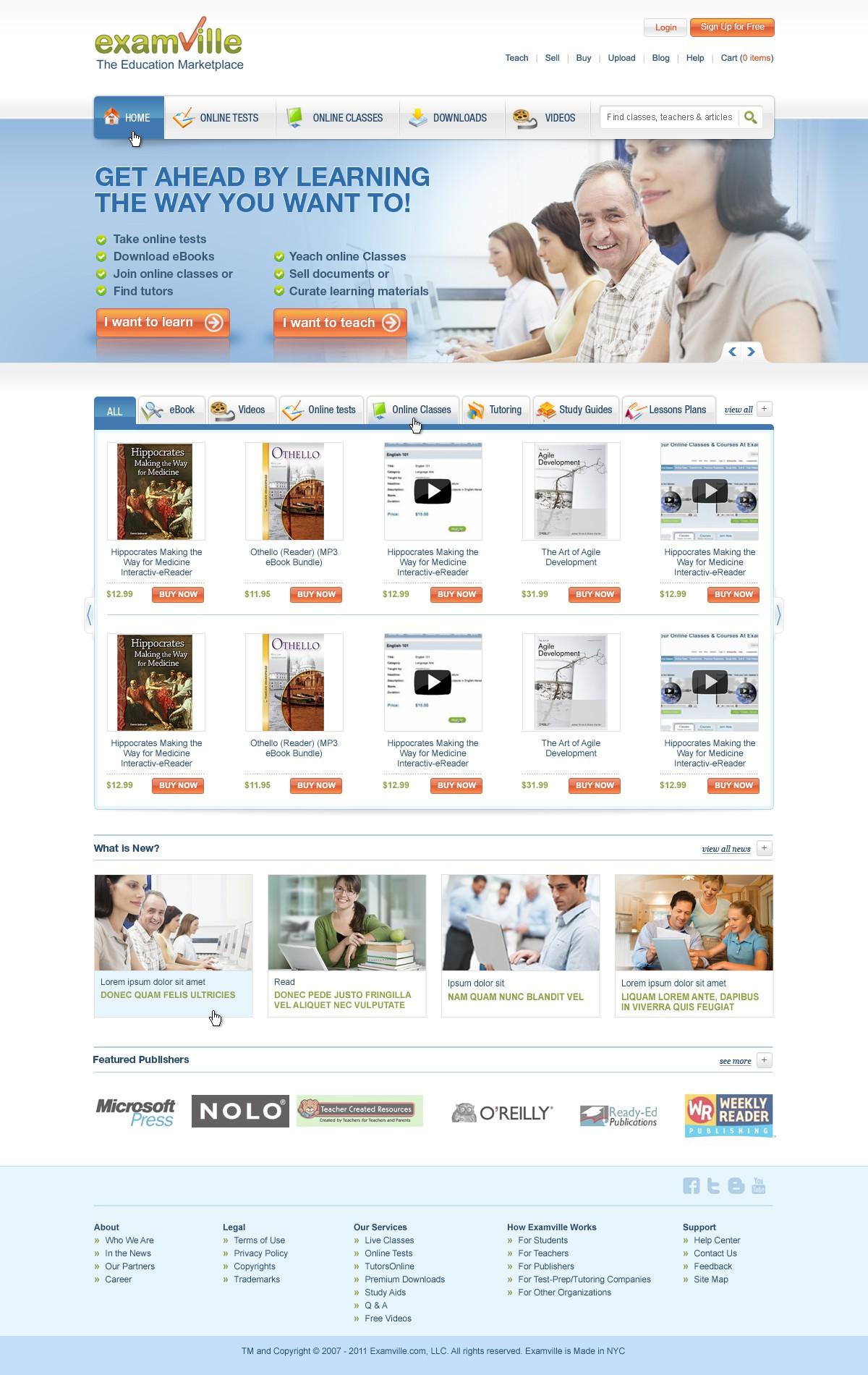 Examville needs a new website design - Money Guaranteed to the winner!