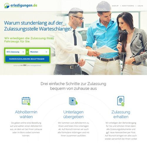 Erledigungen Landing Page Design