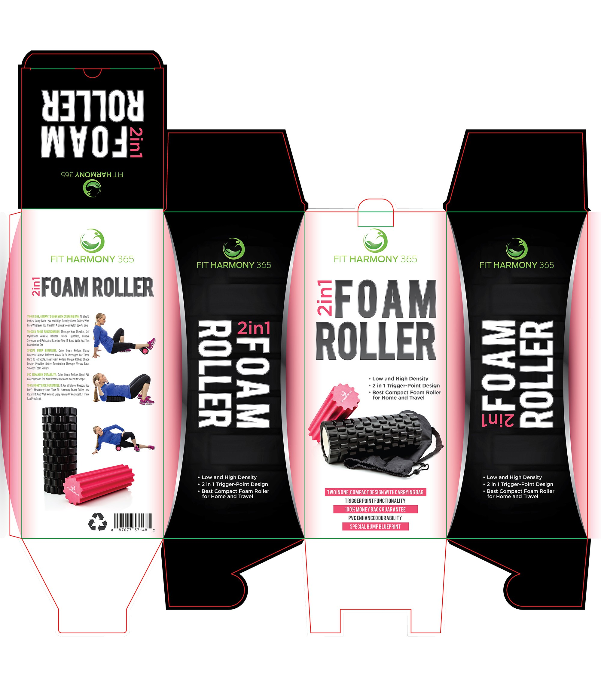 Design a FUN & creative packaging for a two-in-one foam roller, with a passion for fitness!