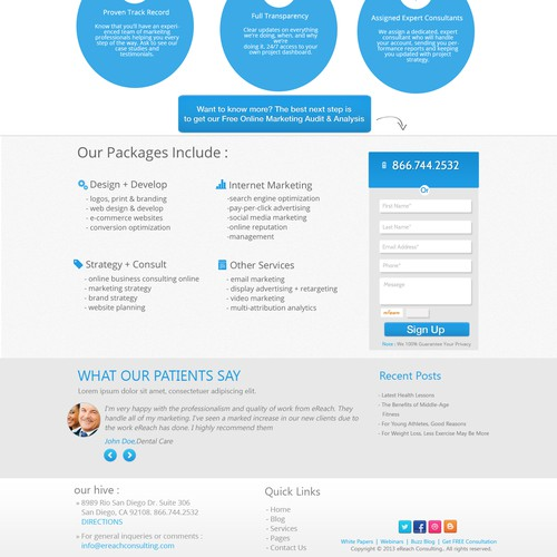 Design Landing Page for Marketing Company