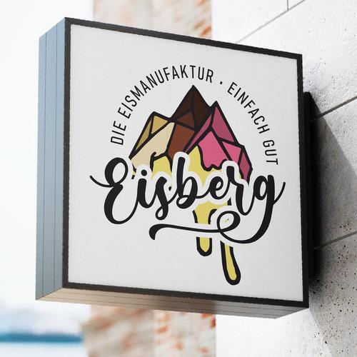 Logo für eine Hippe Eisdiele in Süd Deutschland.