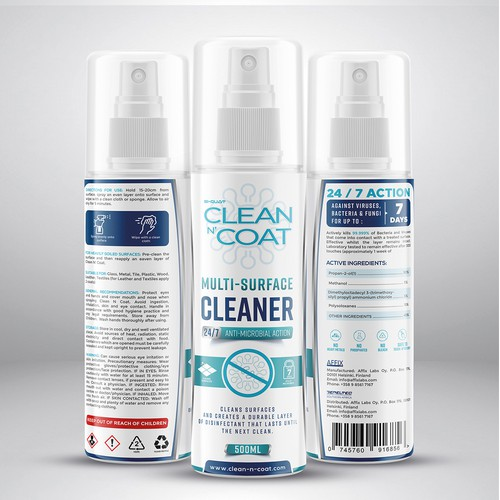 Design a stand-out label for an international Cleaning and Active Anti-microbial protection spray