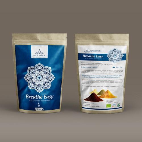 Ayur Botanicals needs a standout elegant front label for a range of 8organic herbal beverage blends.