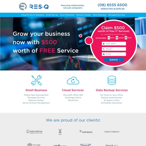 Website design for Res-Q promoting a free IT auditing