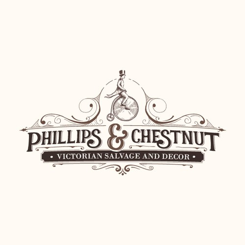 Scetched victorian logo for interior decor business
