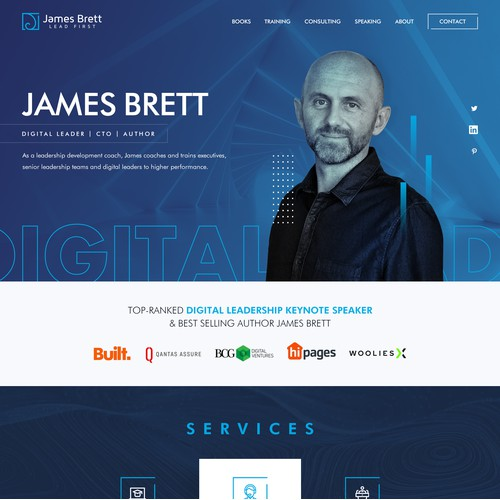 Leadership focused Website design for digital speaker and writer