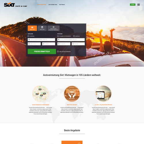 Homepage design for SIXT in Germany.