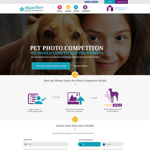 Foto Competition for Dogs & Cats - Create an appealing landingpage