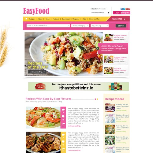 Homepage needed for a Food Website re-design