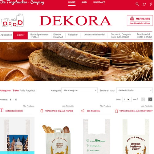 Homepage for an eCommerce company