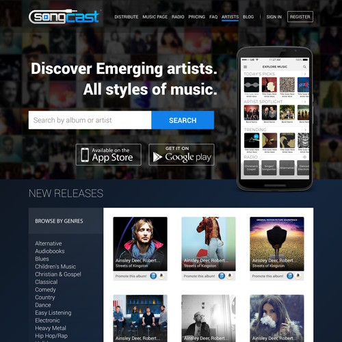 Landing page design for a music app