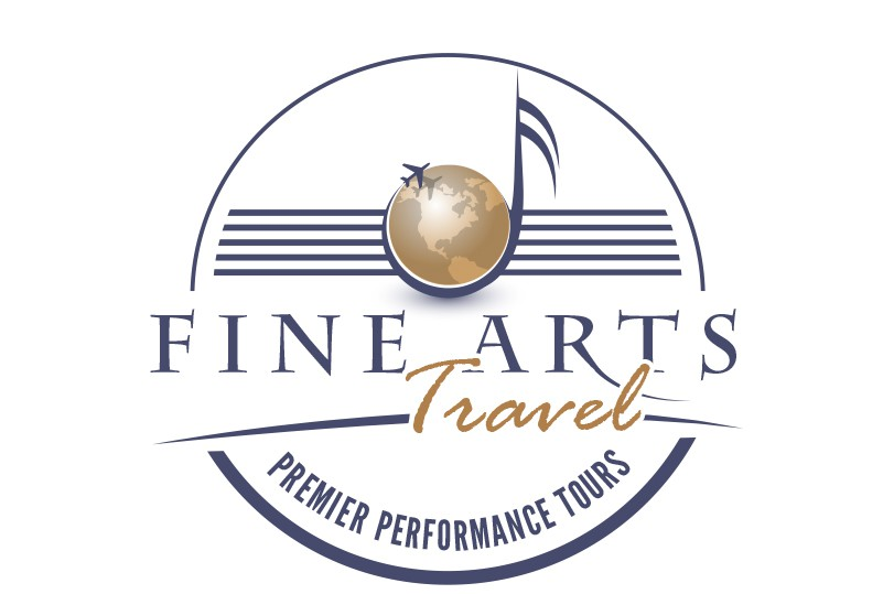 Creat a logo that blends music and travel for Fine Arts Travel