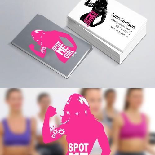 Create a female fitness brand character logo for SpotMeGirl.com Fitness Magazine
