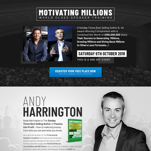 Webpage Redesign for Motivating Millions event