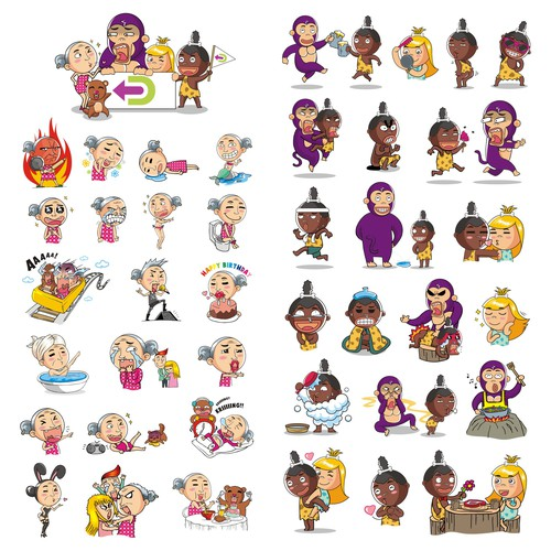 FUNNY Character Stickers for Dingaling: a free calling/messaging app