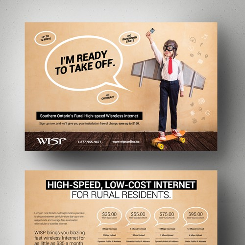 Create a stunning and mind blowing new marketing postcard for WISP