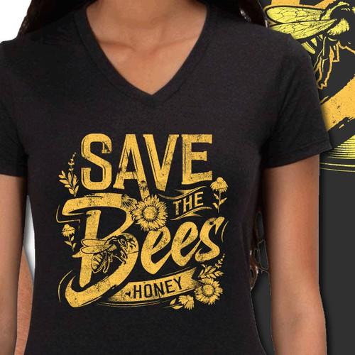 Inspiring t-shirt design for saving the bees