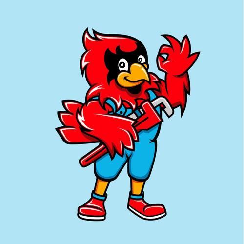 Mascot Logo for Cardinal Plumbing