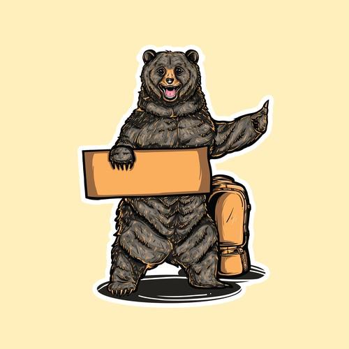 Cute Bear Hitchhiking Sticker