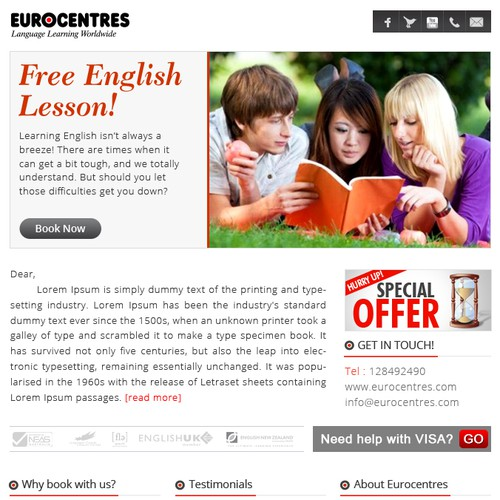 Eurocentres needs a new fresh email template design