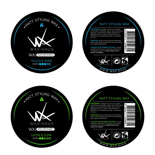 Hair wax label design for WAX.HAUS