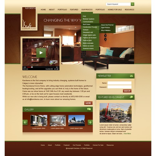 Top-of-the-line Custom Home Builder needs a Homepage