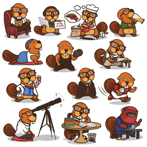 Cookie Taker - Beaver Character in a different poses