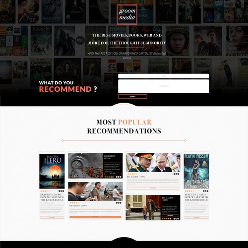 Simple & clean recommendation media website homepage