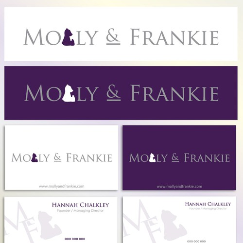 logo and business card for Molly & Frankie